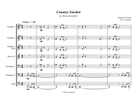 Country Garden - Jazz Arrangement - For Brass Ensemble/Sextet
