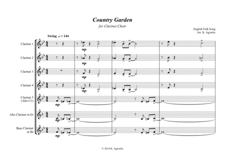 Country Garden - Jazz Arrangement - For Clarinet Choir