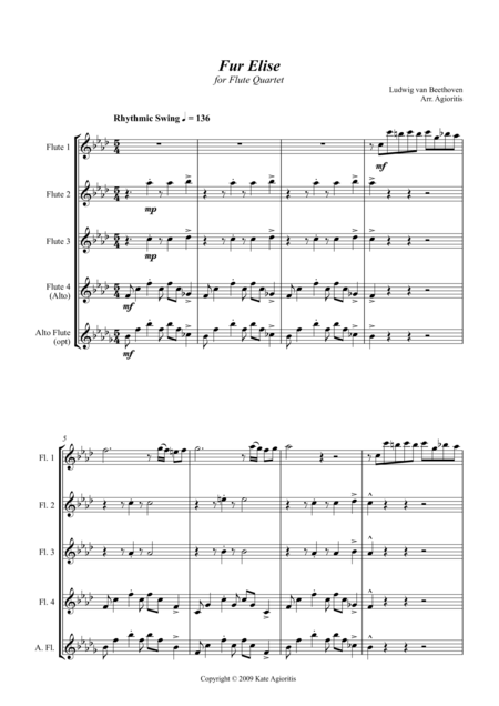 Fur Elise - Jazz Arrangement for Flute Quartet