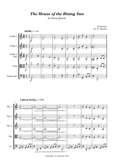 The House of the Rising Sun - for String Quartet