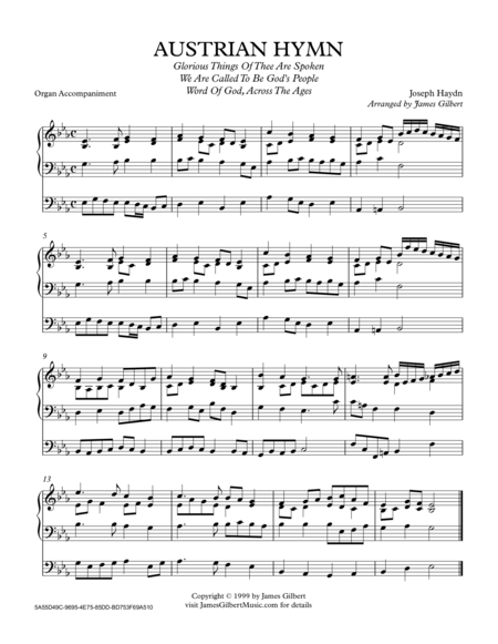 AUSTRIAN HYMN (Glorious Things Of Thee Are Spoken)
