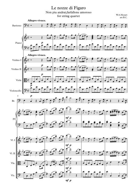 Le nozze di Figaro Non piu andrai,farfallone amoroso for string quartet