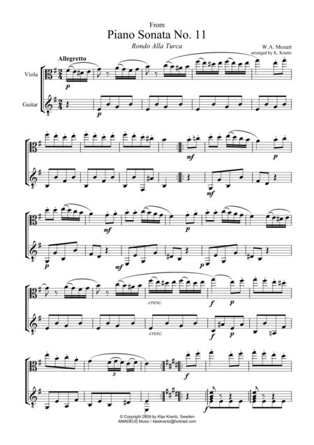 Rondo alla turca for viola and guitar