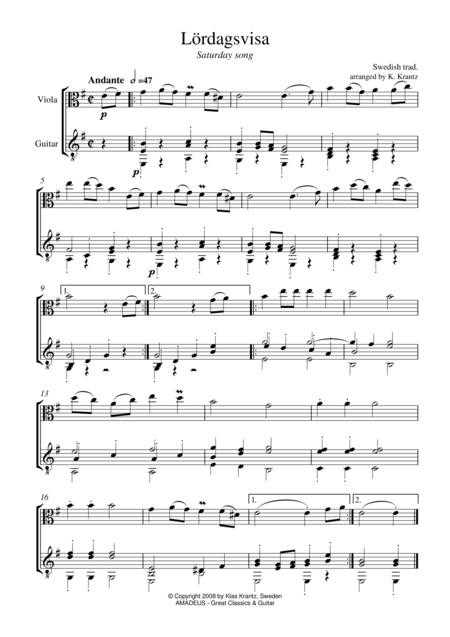 Lordagsvisa (Saturday Song) for viola and guitar
