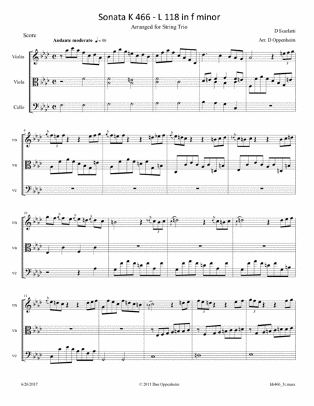 Scarlatti D: Sonata in f minor k 466 arr. for String Trio