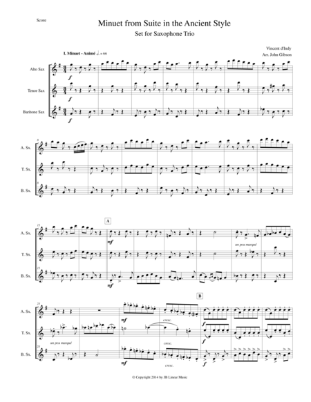 Minuet from Suite in the Ancient Style set for Saxophone Trio