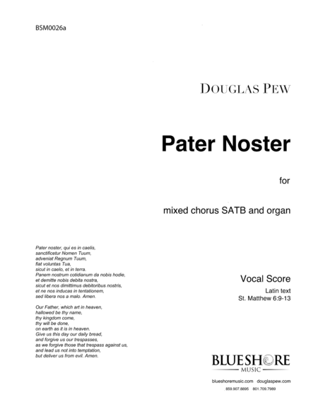 Pater Noster, SATB and Organ