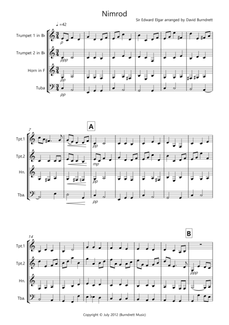 Nimrod (from the Enigma Variations) for Brass Quartet