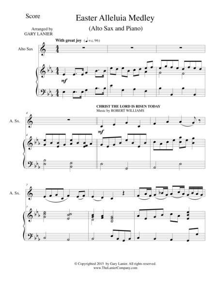 EASTER ALLELUIA MEDLEY (Duet – Alto Sax/Piano) Score and Sax Part