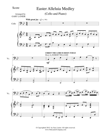 EASTER ALLELUIA MEDLEY (Duet – Cello/Piano) Score and Cello Part