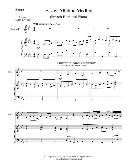 EASTER ALLELUIA MEDLEY (Duet – French Horn/Piano) Score and HornPart