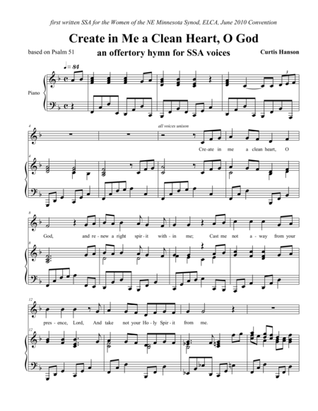 Create in Me a Clean Heart, O God (offertory hymn - multiple voicings)