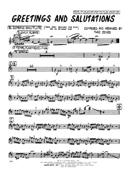 Greetings And Salutations - Bb Soprano Sax