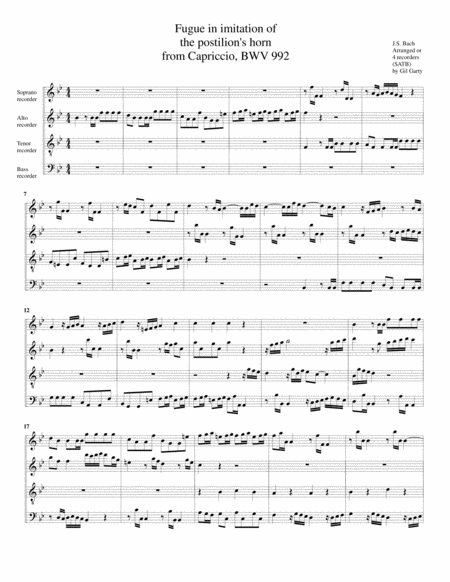 Fugue in imitation of the postilion's horn from Capriccio BWV 992 (arrangement for 4 recorders)