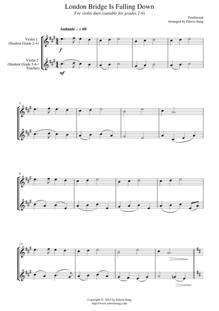 London Bridge Is Falling Down (for violin duet, suitable for grades 2-6)