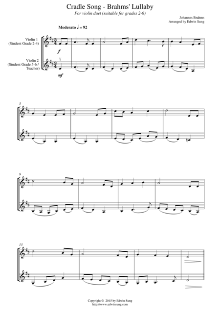 Cradle Song - Brahms' Lullaby (for violin duet, suitable for grades 2-6)