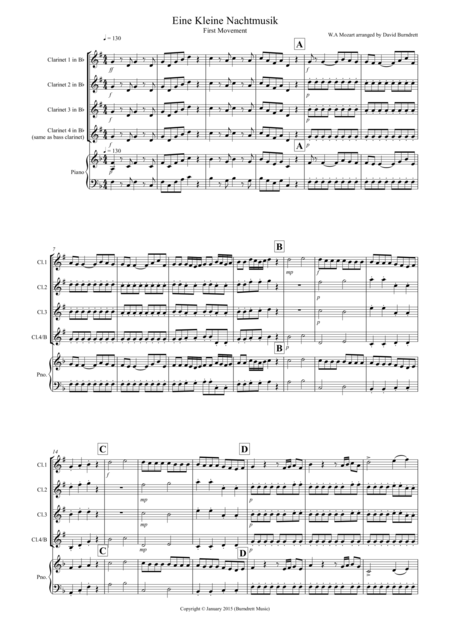 Eine Kleine Nachtmusik (1st movement) for Clarinet Quartet