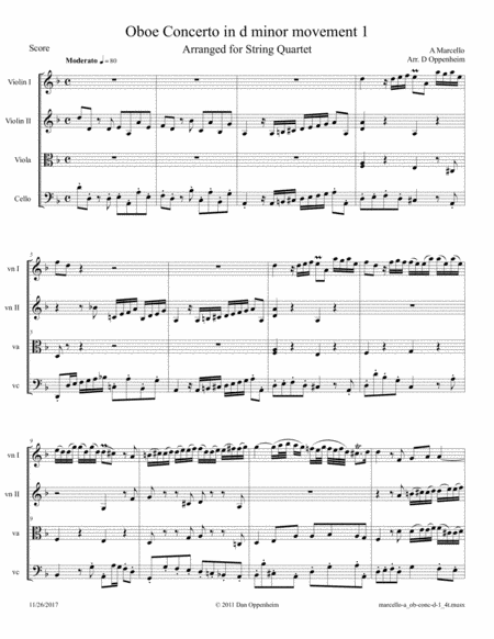 A Marcello: Oboe Concerto in d, movement I arr. for String Quartet