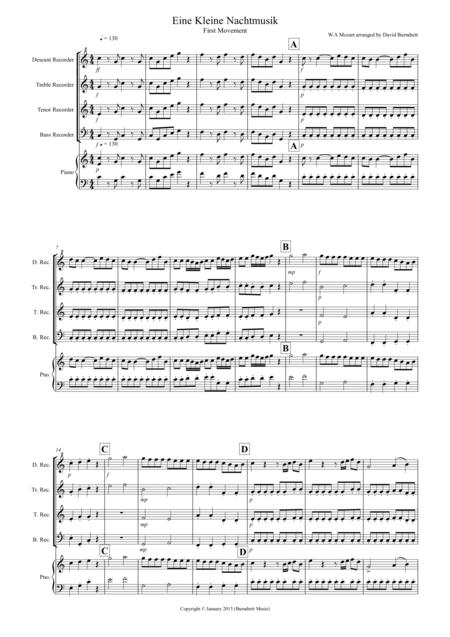 Eine Kleine Nachtmusik (1st movement) for Recorder  Quartet