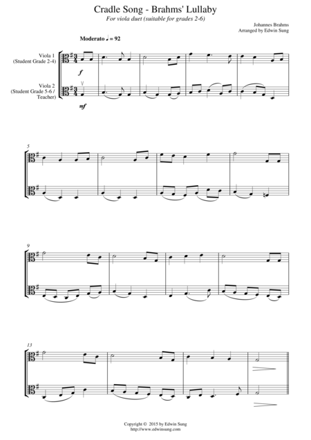 Cradle Song - Brahms' Lullaby (for viola duet, suitable for grades 2-6)
