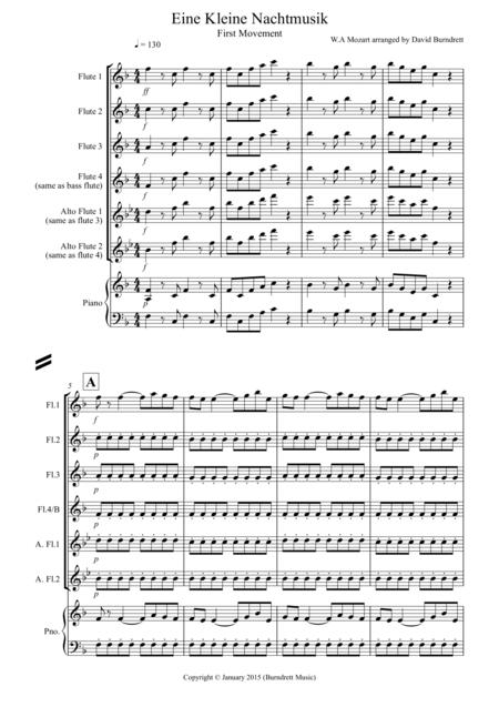 Eine Kleine Nachtmusik (1st movement) for Flute Quartet