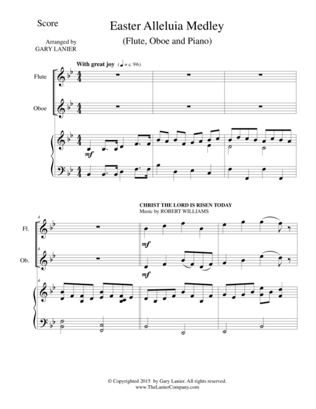 EASTER ALLELUIA MEDLEY (Trio – Flute, Oboe/Piano) Score and Parts