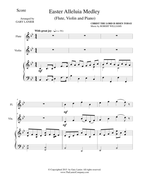EASTER ALLELUIA MEDLEY (Trio – Flute, Violin /Piano) Score and Parts