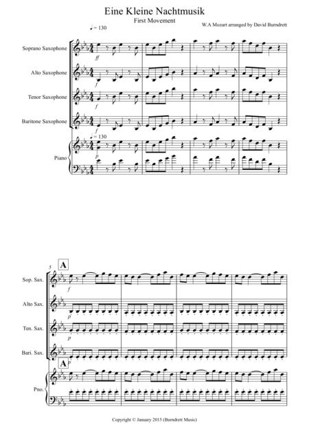 Eine Kleine Nachtmusik (1st movement) for Saxophone Quartet