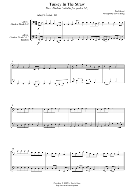 Turkey In The Straw (for cello duet, suitable for grades 2-6)