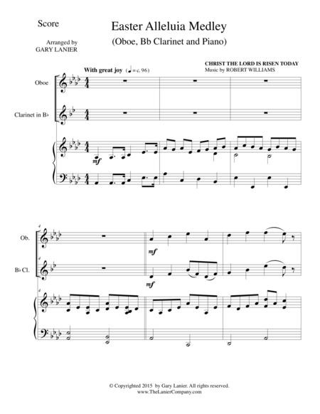 EASTER ALLELUIA MEDLEY (Trio – Oboe, Bb Clarinet/Piano) Score and Parts