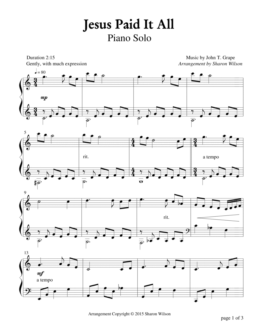 Jesus Paid It All (Piano Solo)