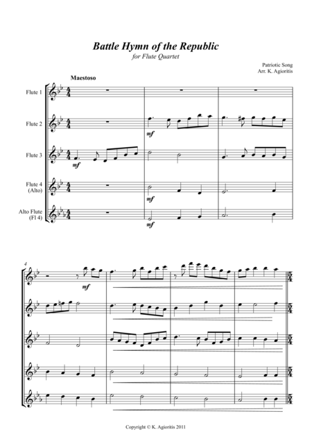 Battle Hymn of the Republic - Jazz Arrangement for Flute Quartet