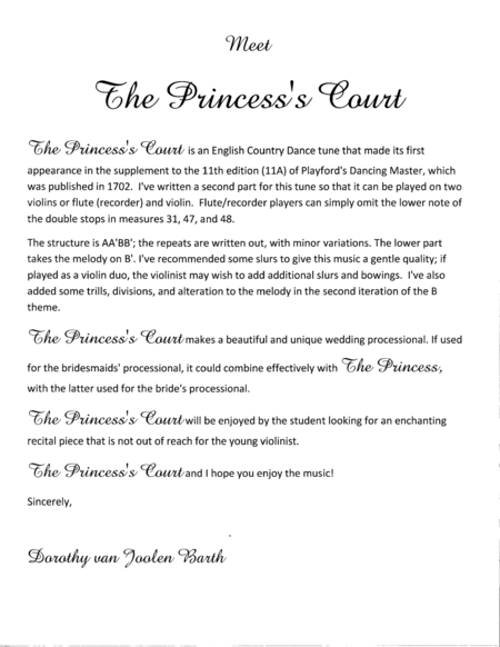 Romantic Playford: The Princess's Court