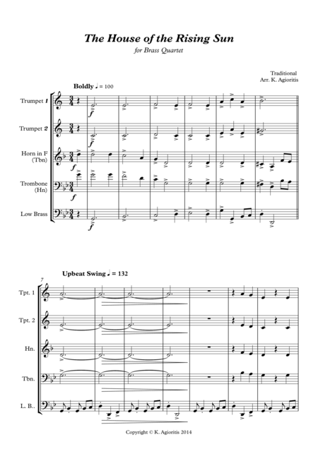 The House of the Rising Sun - for Brass Quartet