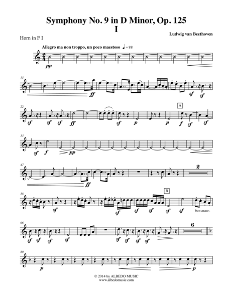 Beethoven Symphony No. 9, Movement I - Horn in F 1 (Transposed Part), Op. 125
