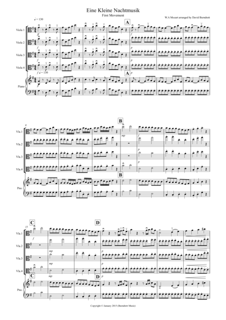 Eine Kleine (1st movement) for Viola Quartet