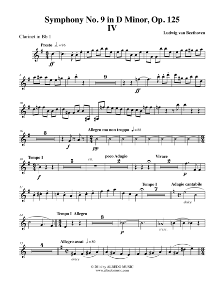 Beethoven Symphony No. 9, Movement IV - Clarinet in Bb 1 (Transposed Part), Op. 125