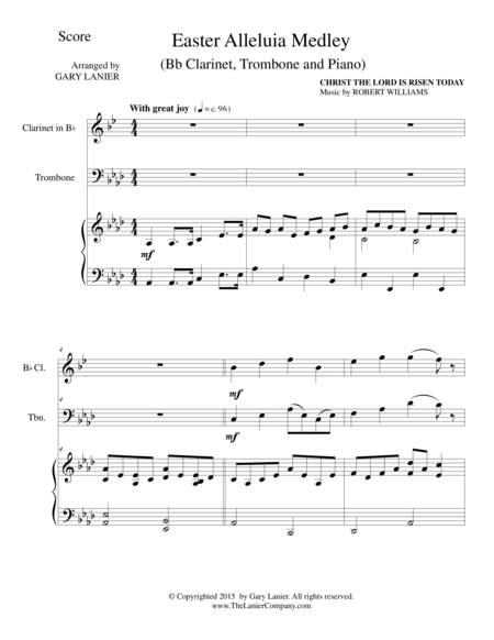 EASTER ALLELUIA MEDLEY (Trio – Bb Clarinet, Trombone/Piano) Score and Parts
