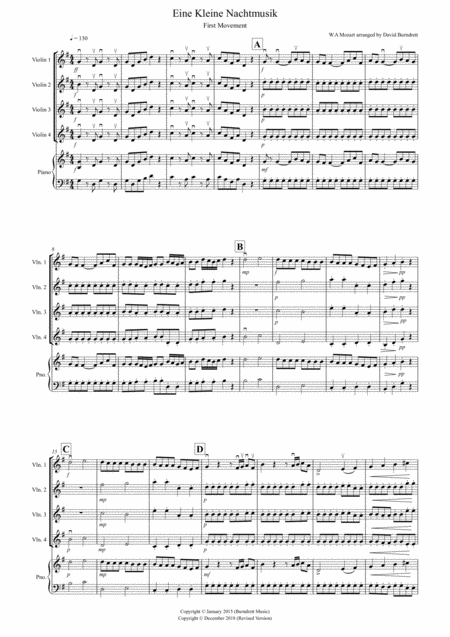 Eine Kleine (1st movement) for Violin Quartet