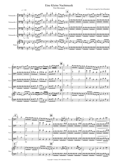 Eine Kleine Nachtmusik (1st movement) for Cello Quartet