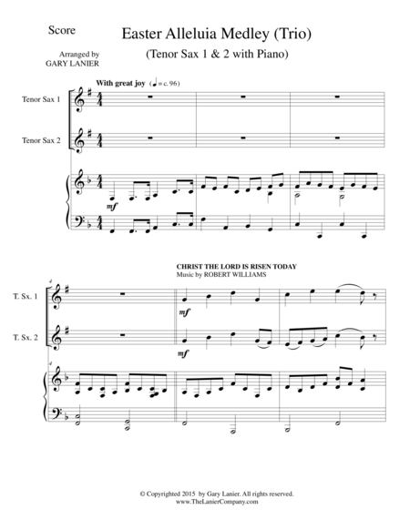 EASTER ALLELUIA MEDLEY (Trio – Tenor Sax 1 & 2 with Piano) Score and Parts