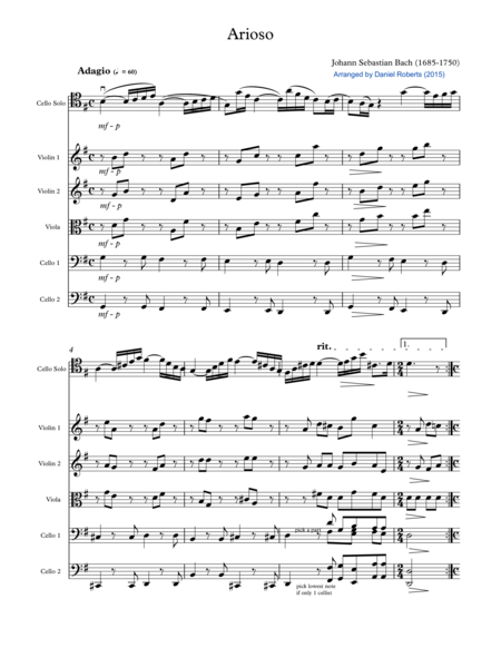 Bach Arioso (BWV 156) for Cello and Chamber Orchestra - SCORE