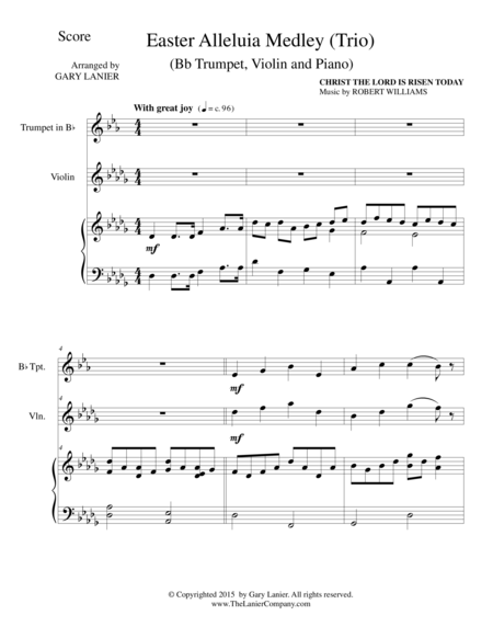 EASTER ALLELUIA MEDLEY (Trio – Bb Trumpet, Violin/Piano) Score and Parts