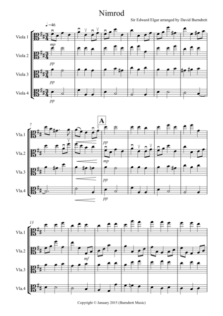 Nimrod (from the Enigma Variations) for Viola Quartet