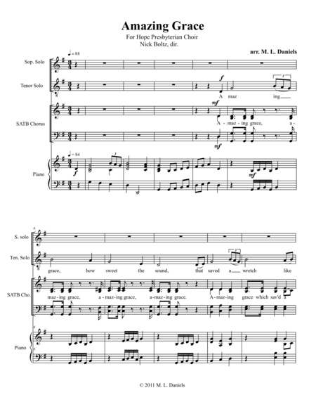 Amazing Grace (for SATB, piano, and solo tenor and soprano)