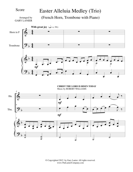 EASTER ALLELUIA MEDLEY (Trio – French Horn, Trombone/Piano) Score and Parts