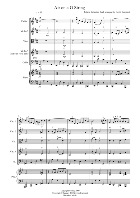 Air on a G String for String Quartet