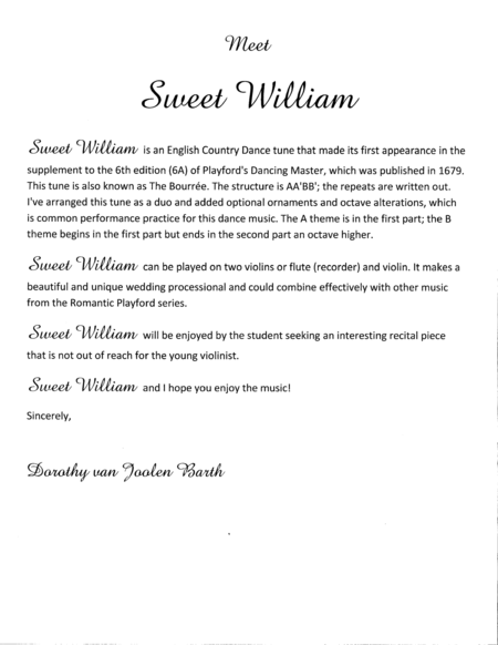 Romantic Playford: Sweet William