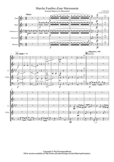 Gounod: Funeral March of a Marionette (Marche Funèbre d'une Marionette)(Hitchcock TV Theme) arr. wind quintet