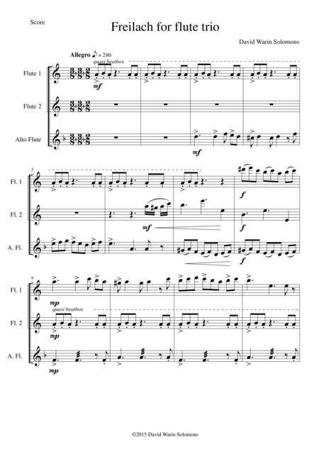 Freilach (Fraylach) for flute trio (2 flutes and 1 alto flute)